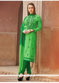 Staring Embroidered Work Churidar Suit