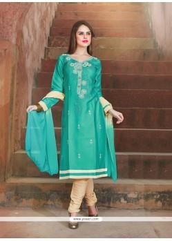 Blissful Cotton Blue Churidar Suit