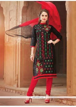 Elite Cotton Black Embroidered Work Churidar Suit