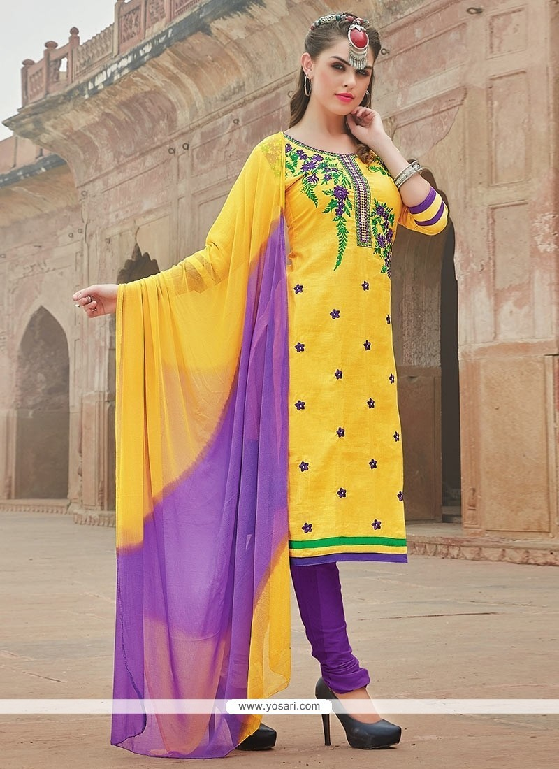 Fantastic Embroidered Work Cotton Churidar Suit