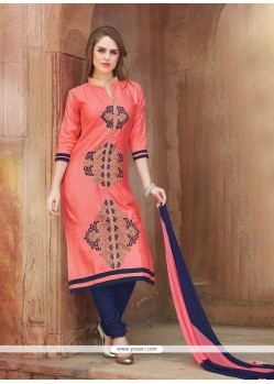 Arresting Cotton Embroidered Work Churidar Suit