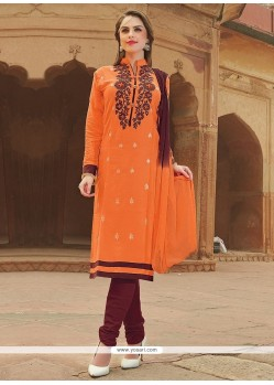 Sightly Embroidered Work Orange Cotton Churidar Suit