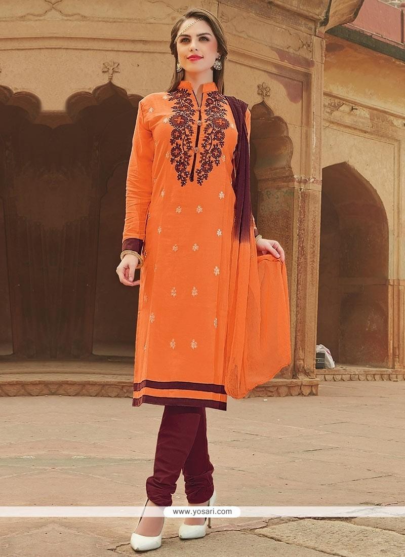 Sightly Embroidered Work Orange Cotton Churidar Suit