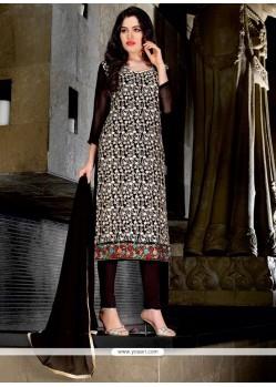 Modest Lace Work Black Faux Georgette Trendy Churidar Suit