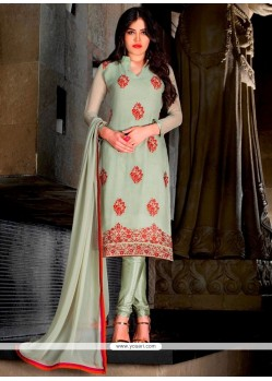 Perfect Lace Work Faux Georgette Sea Green Trendy Churidar Suit