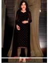 Enthralling Lace Work Faux Georgette Black Trendy Churidar Suit