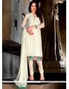 Magnetize White Lace Work Faux Georgette Trendy Churidar Suit