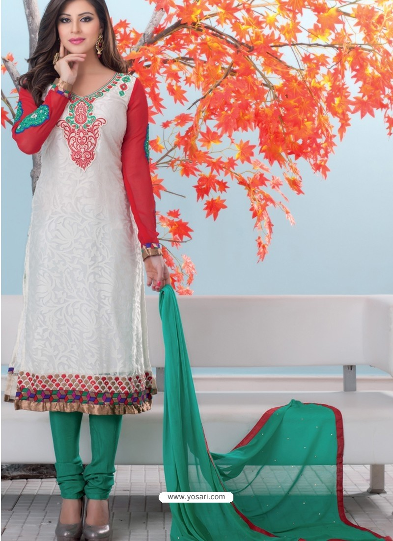 Multicolor Brasso Churidar Suit