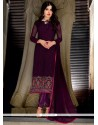 Entrancing Embroidered Work Faux Georgette Churidar Suit