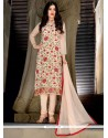 Blissful Embroidered Work Faux Georgette Beige Churidar Designer Suit