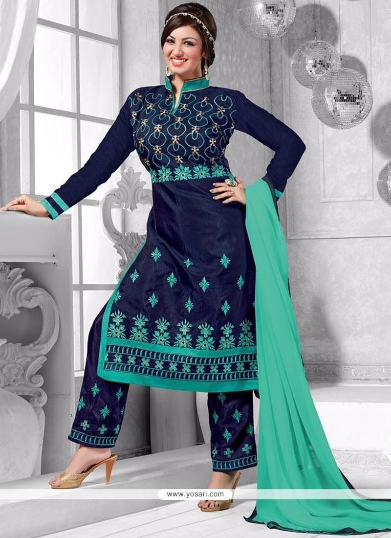 Ayesha Takia Navy Blue Chanderi Punjabi Suit