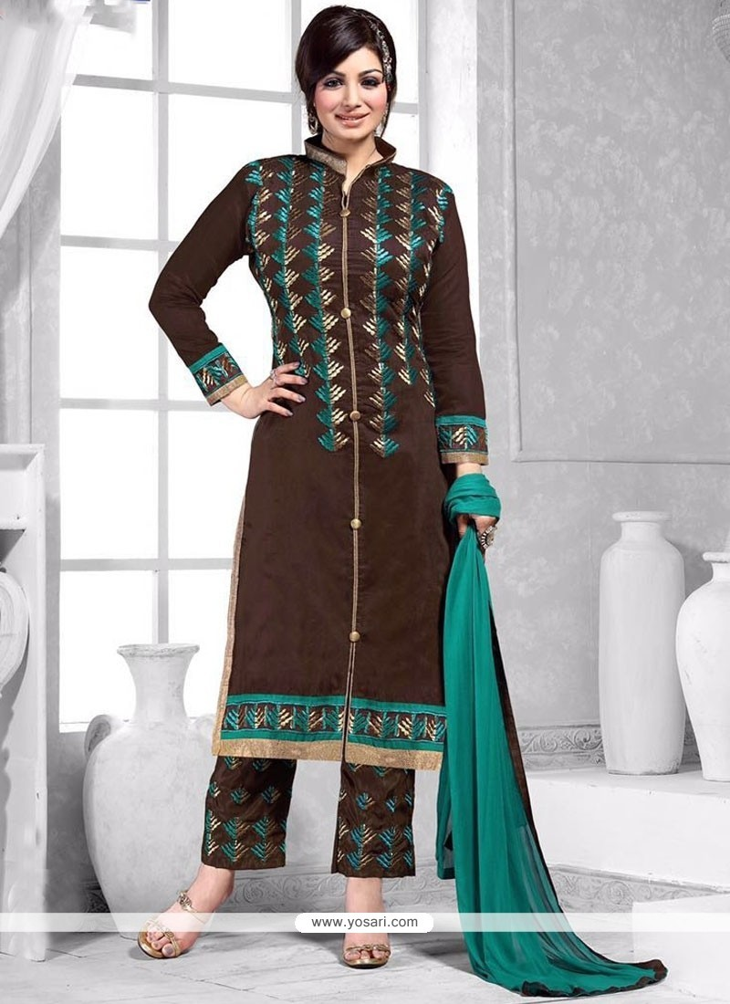 Ayesha Takia Embroidered Work Brown Pant Style Suit