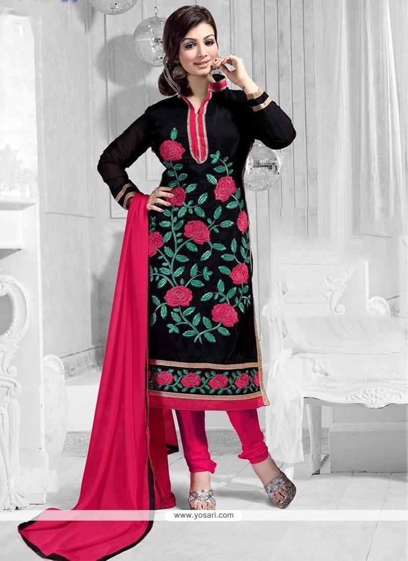 Ayesha Takia Black Embroidered Work Churidar Suit