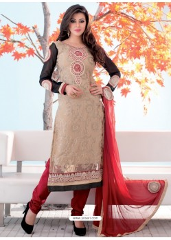 Cream And Red Brasso Churidar Suit