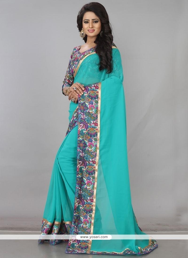 Impressive Print Work Turquoise Casual Saree