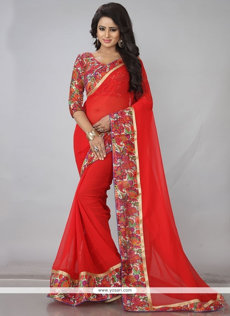 Whimsical Faux Georgette Red Casual Saree