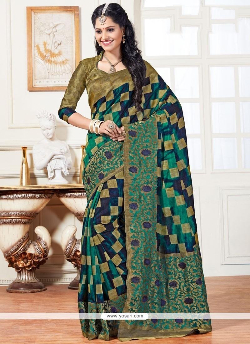 Fabulous Art Silk Green Traditional Designer Saree