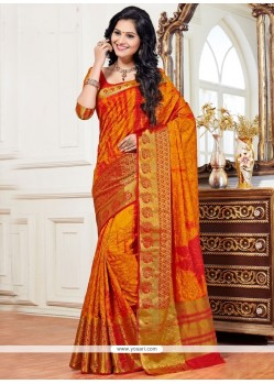 Lively Orange Weaving Work Art Silk Traditional Saree