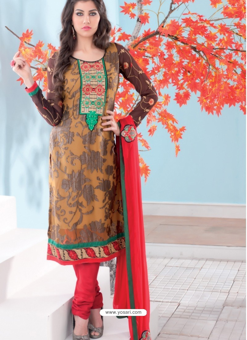 Brown And Red Brasso Churidar Suit