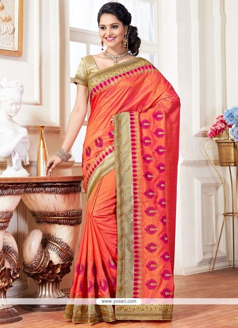 Dashing Orange Traditional Designer Saree