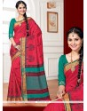Bedazzling Red Weaving Work Traditional Designer Saree