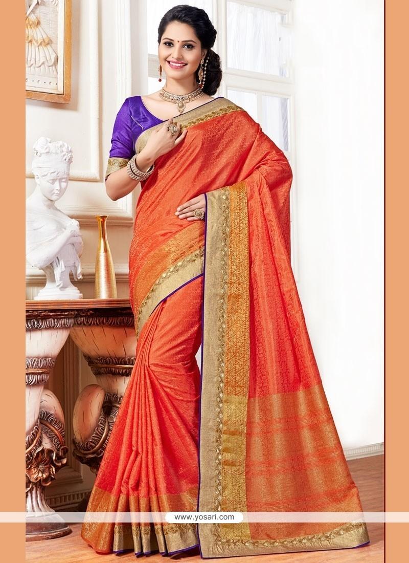 Lovely Orange Sequins Work Traditional Saree