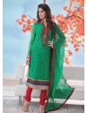 Green And Red Brasso Churidar Suit
