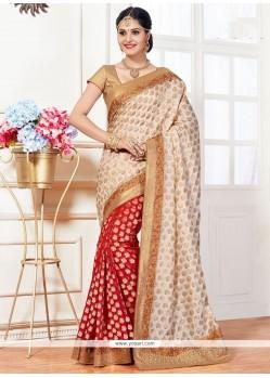 Gleaming Art Silk Weaving Work Designer Half N Half Saree