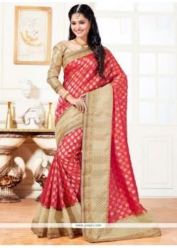 Aesthetic Peach Designer Traditional Saree
