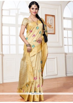 Savory Resham Work Beige Traditional Saree