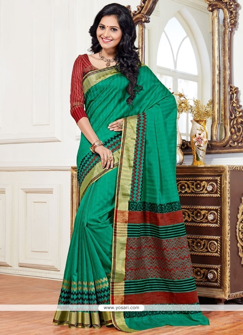 Intricate Art Silk Green Designer Traditional Saree