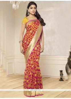 Resplendent Hot Pink And Yellow Zari Work Banarasi Silk Traditional Saree