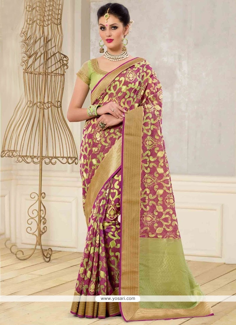 Lovable Wine Banarasi Silk Designer Traditional Saree