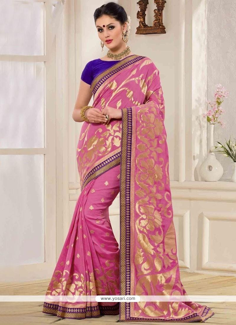 Picturesque Banarasi Silk Pink Print Work Designer Traditional Saree