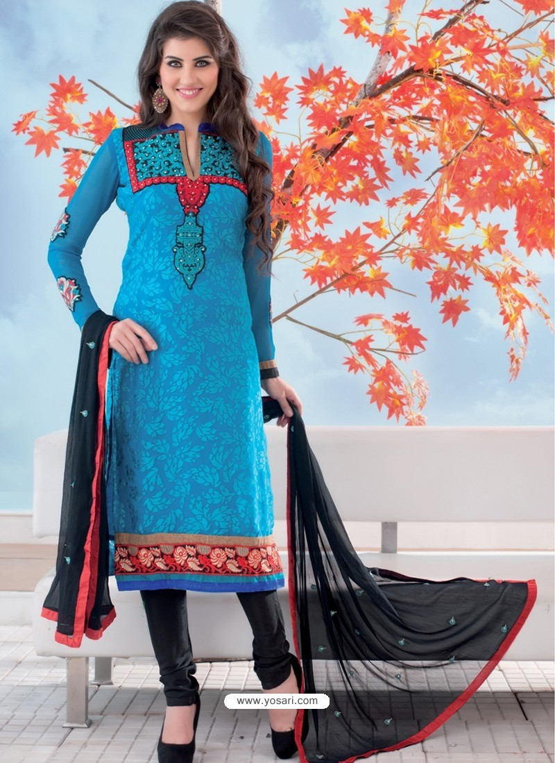 Latest Blue And Black Brasso Churidar Suit