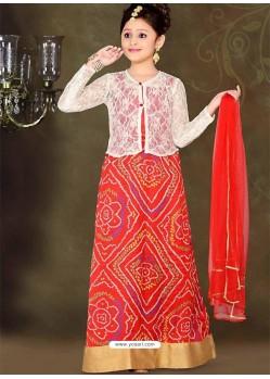 Astonishing Red Printed Lehenga Choli