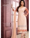 Cream And Red Pure Chiffon Churidar Suit