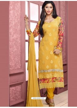 Yellow Pure Chiffon Churidar Suit