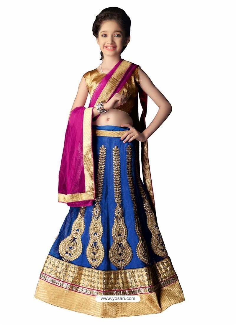 Royal Blue Lycra Lehenga Choli
