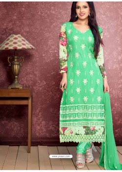 Cream And Green Pure Chiffon Churidar Suit
