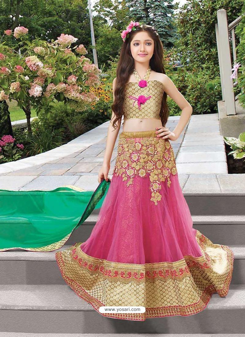 Reddish Pink Net Lehengha Choli