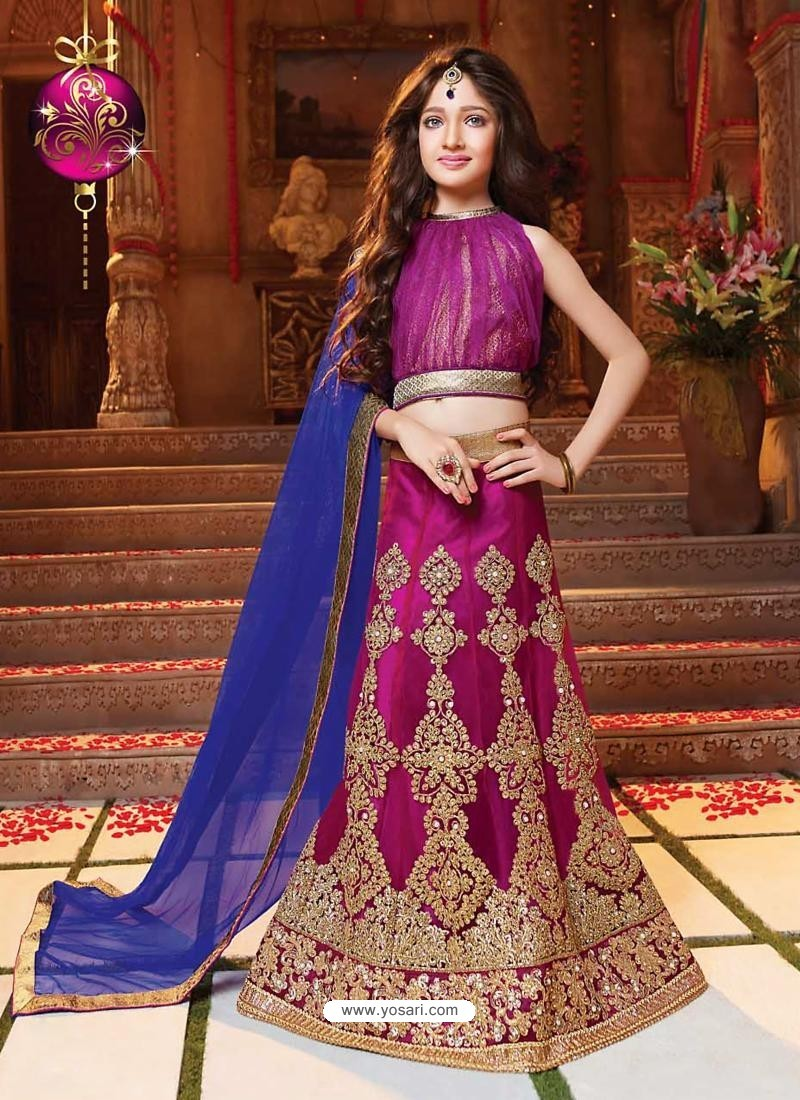 Astonishing Magenta Net Lehengha Choli