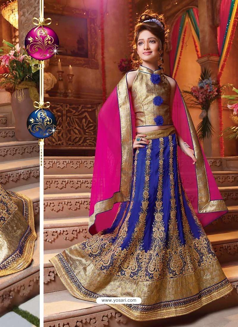 Demure Blue Readymade Lehenga Choli
