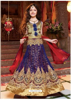 Navy Blue Unstitched Lehengha Choli