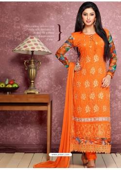 Orange Pure Chiffon Churidar Suit