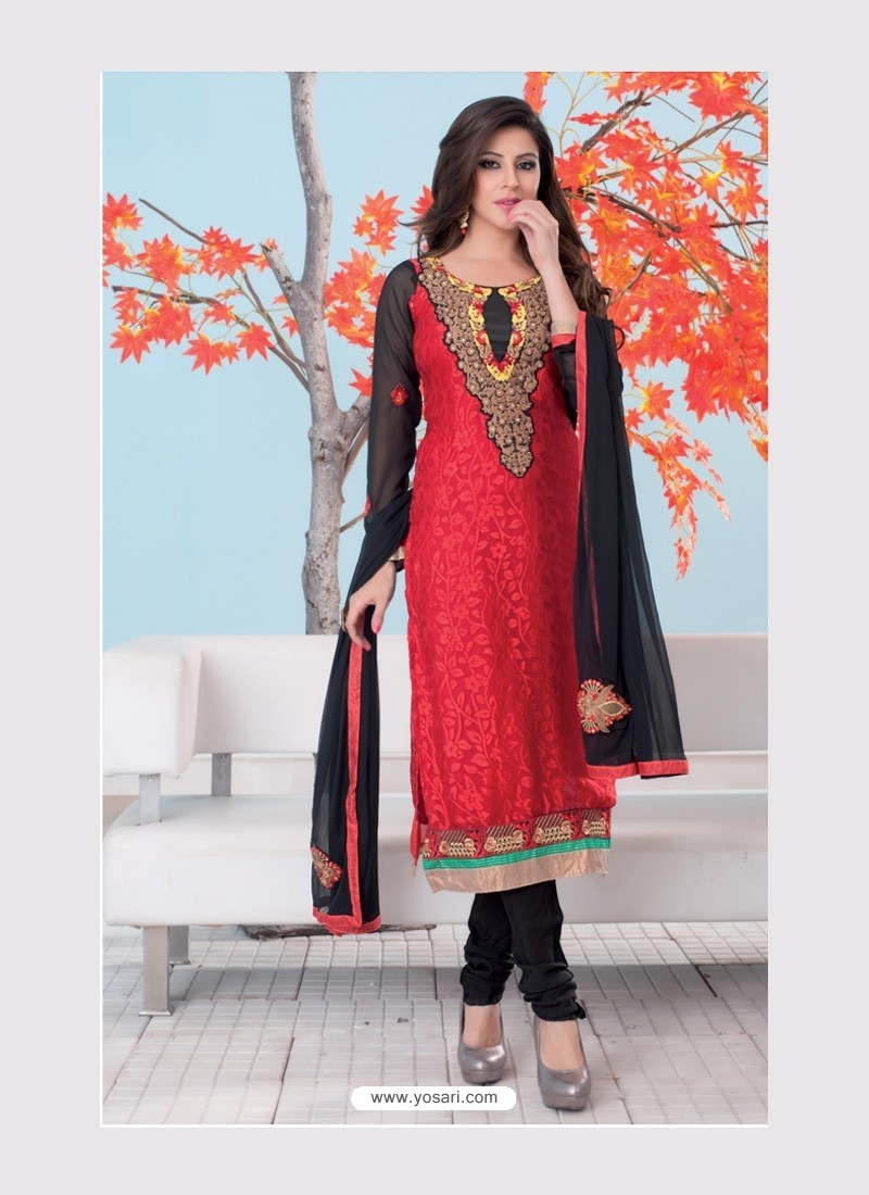Black And Red Brasso Churidar Suit
