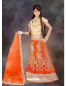 Orange Net Unstitched Lehengha Choli