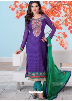 Blue And Green Brasso Churidar Suit