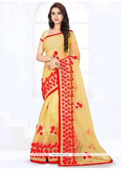 Elite Patch Border Work Cream Saree