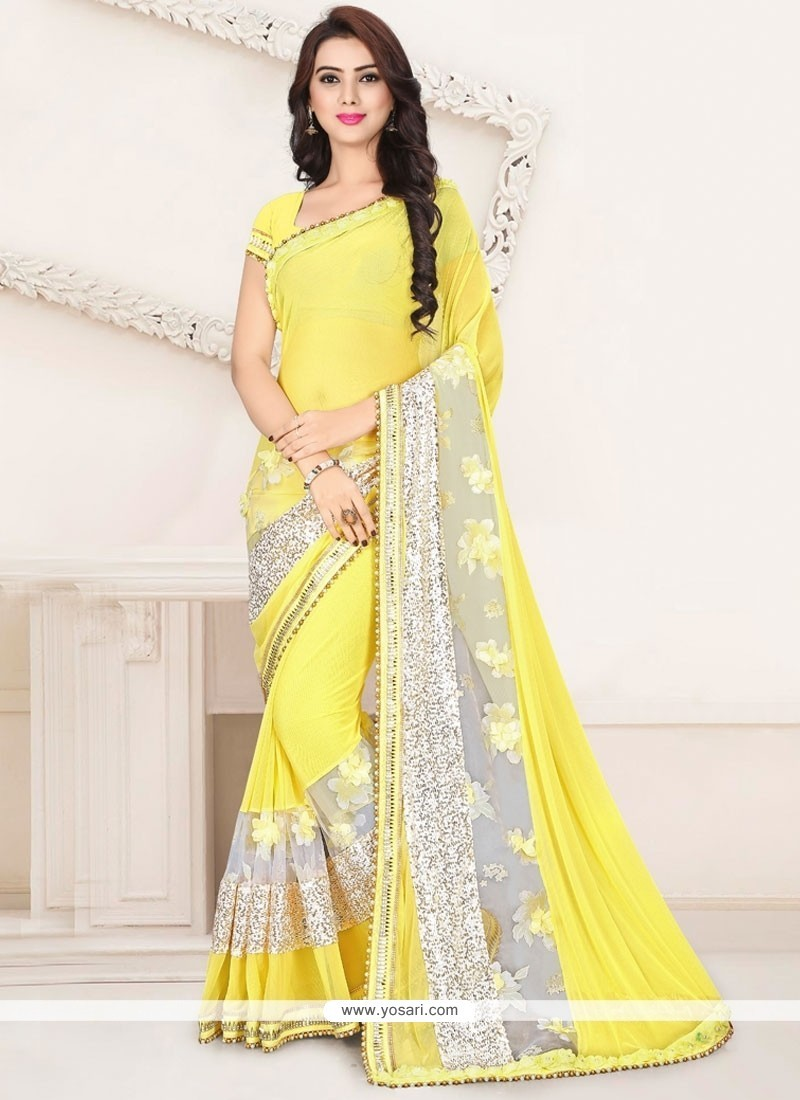 Blissful Zari Work Yellow Classic Saree